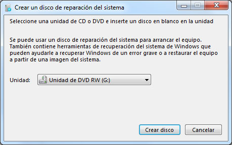 Disco de recuperación para Windows 7 - Foto2