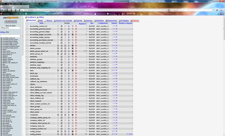 Foto de phpmyadmin funcionando en Xampp