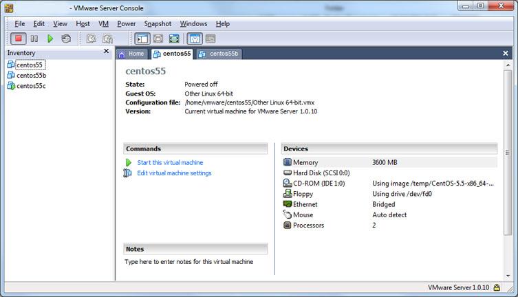 Foto de VMWare Server Console en nuestros servidores.