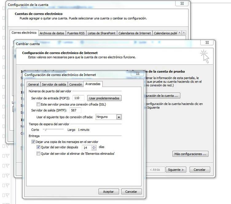 Configuración Outlook puerto 587